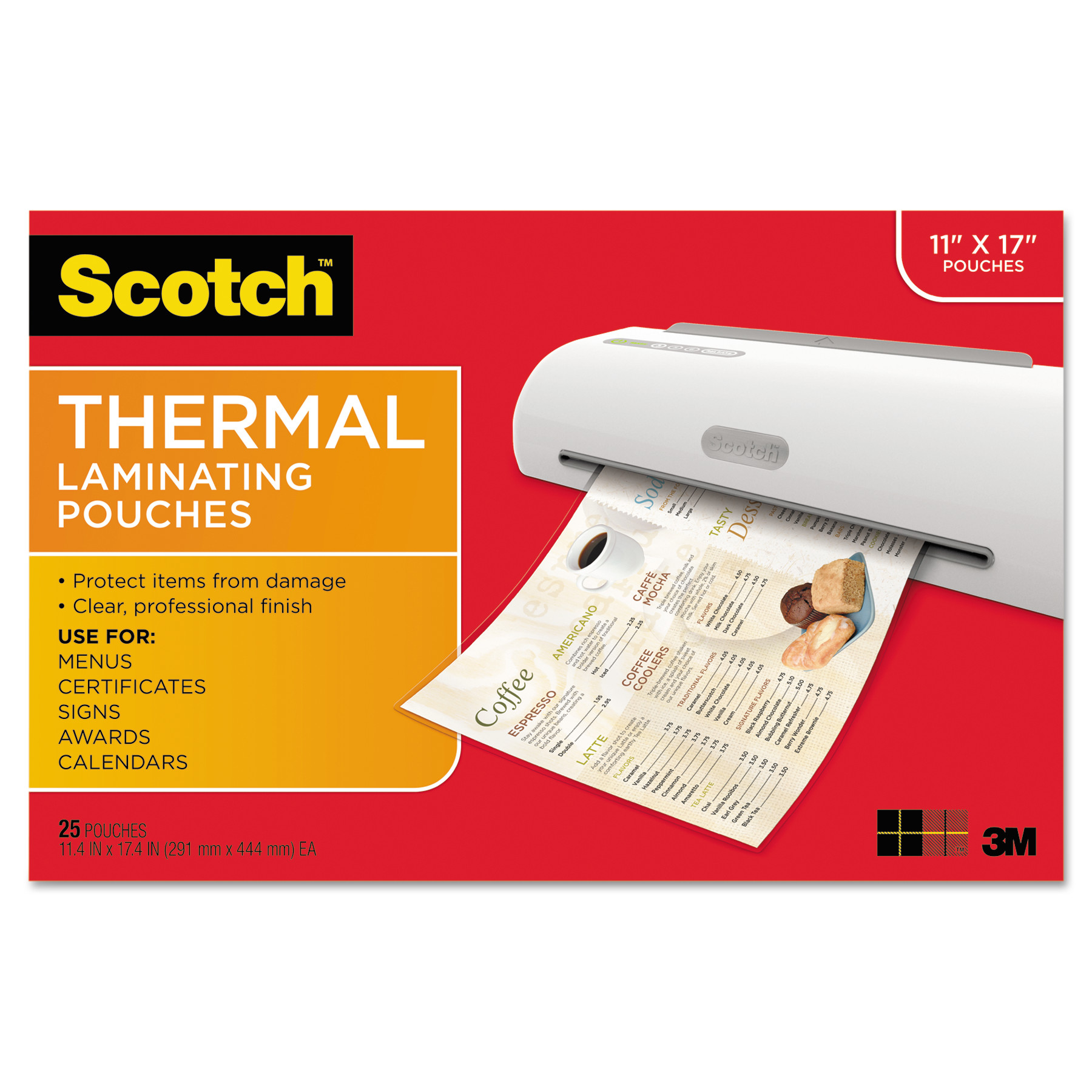 Scotch Menu Size Thermal Laminating Pouches, 3 mil, 17.5 x 11.5 in., 25 Pouches per Pack