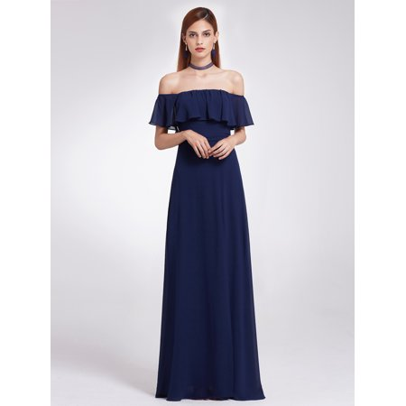 25bff17f687 Ever-pretty - Ever-Pretty Womens Elegant Long Off Shoulder Chiffon Formal  Bridesmaid Evening Prom Homecoming Dance Dresses for Women 07171 Navy Blue  US 6 ...
