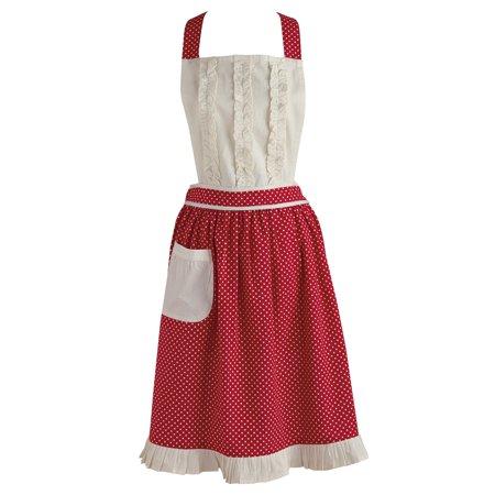 Design Imports Red Polka Dot Vintage Apron ()