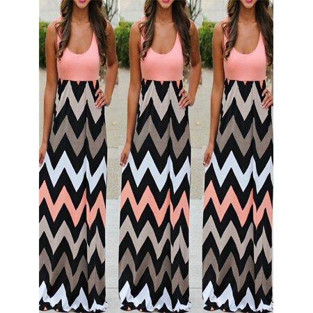 8424566fca Women Striped Long Boho Dress Lady Beach Summer Sundress Maxi Dress Plus  Size - Walmart.com