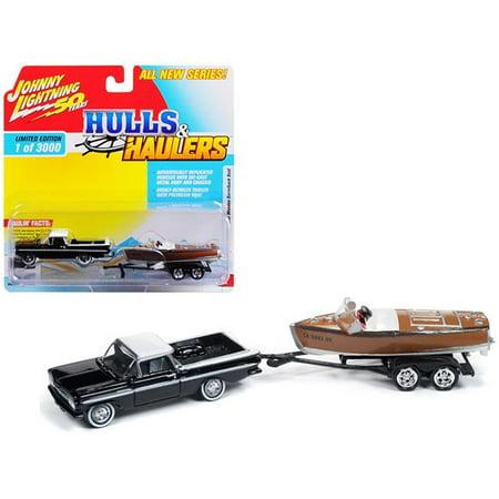 Johnny Lightning JLBT011A-1959CHEVY-BLACK 1959 Chevrolet El Camino Top with Vintage Wooden Barrelback Boat Limited Edition Car, Black & White - 3000 Piece 1960 Chevy El Camino