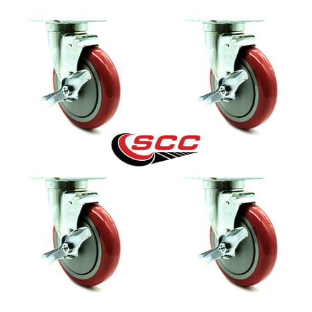 """Service Caster – Universal Kitchen Casters – 5"""" Non-Marking Red Poly Wheel – 4 Swivel Casters w/Brakes – Set of 4 Poly Swivel Caster"""