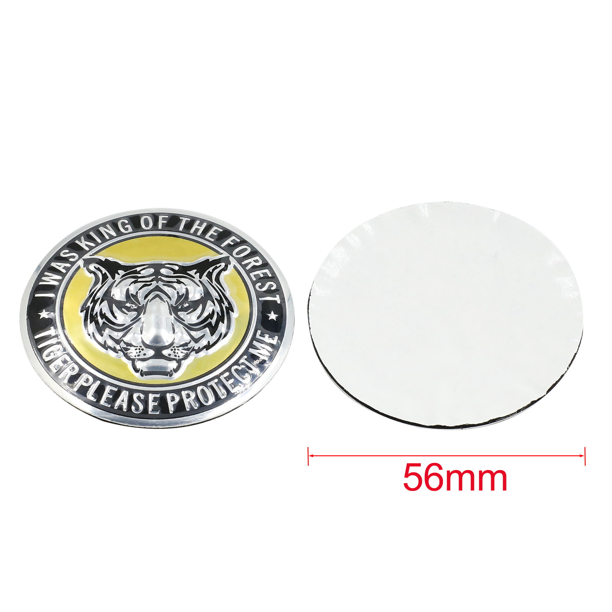 56mm Dia Car Wheel Sticker Hub Caps Centre Cover Tiger Head Pattern 4pcs