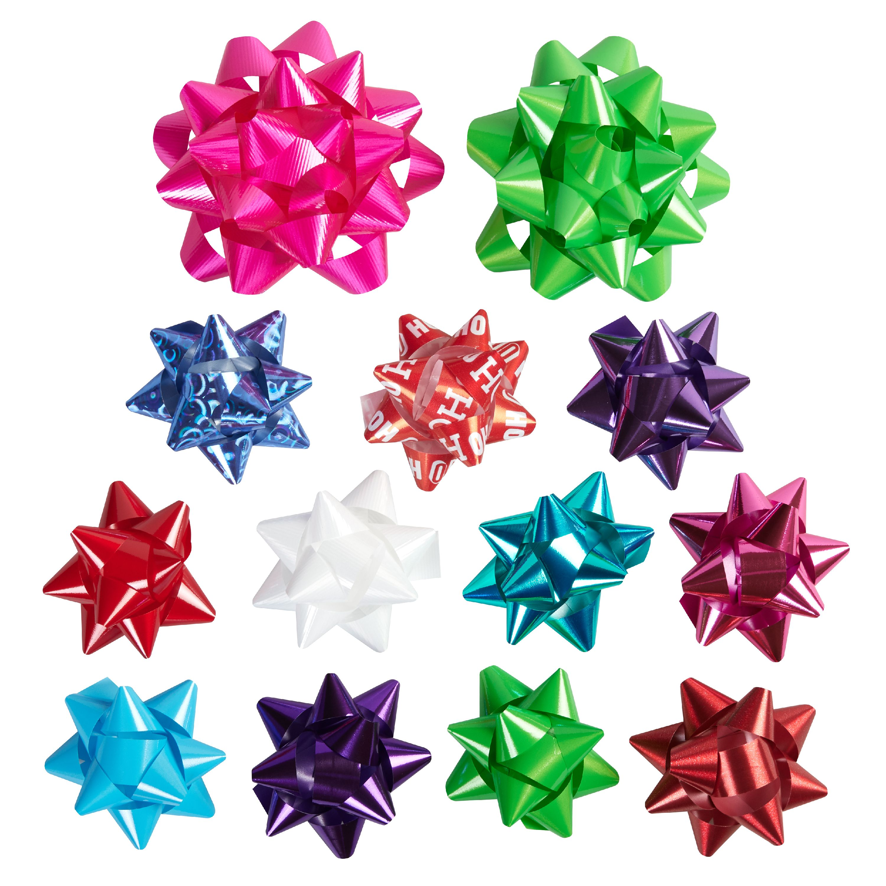 Holiday Time Assorted Bright Multicolor Gift Bows, 42 count