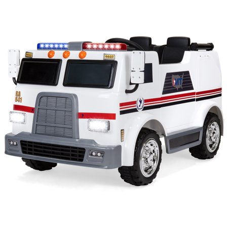 Best Choice Products 12V Kids Ambulance Ride On Truck Toy Emergency Vehicle w/ 2.4MPH Max Speed, Remote Control, USB Port, 2 Speeds, LED Lights, Realistic Siren, Intercom - White