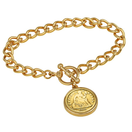 24KT Gold Plated Silver Seated Liberty Dime Goldtone Coin Toggle Bracelet