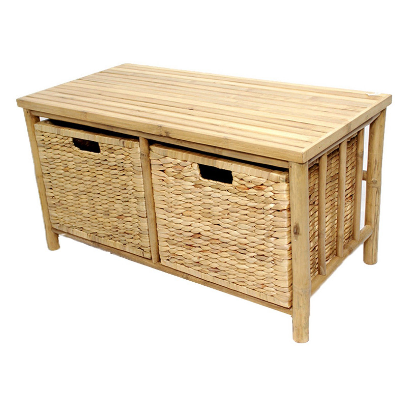 Heather Ann Creations Kona Bamboo 2 Basket Storage Bench