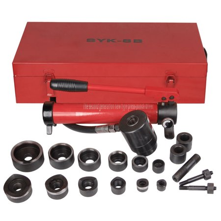 - GHP 10-Ton Metal Case Hydraulic Knockout Punch Drive Hole Set w 6 Dies & Punches