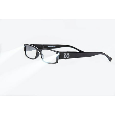 +2.5 Power Strength Eyeglass LED Reading Glasses Black S Optic By Finess