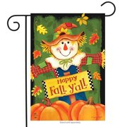 "Fall Y'all Scarecrow Primitive Garden Flag Autumn Leaves 12.5"" x 18"""