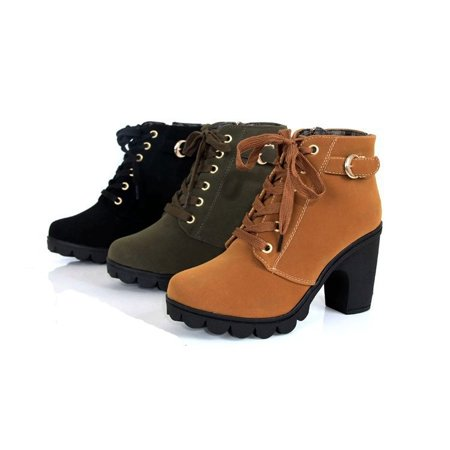 New Vintage Women Zipper Buckle Platform High Heel Single Shoes Motorcycle Ankle