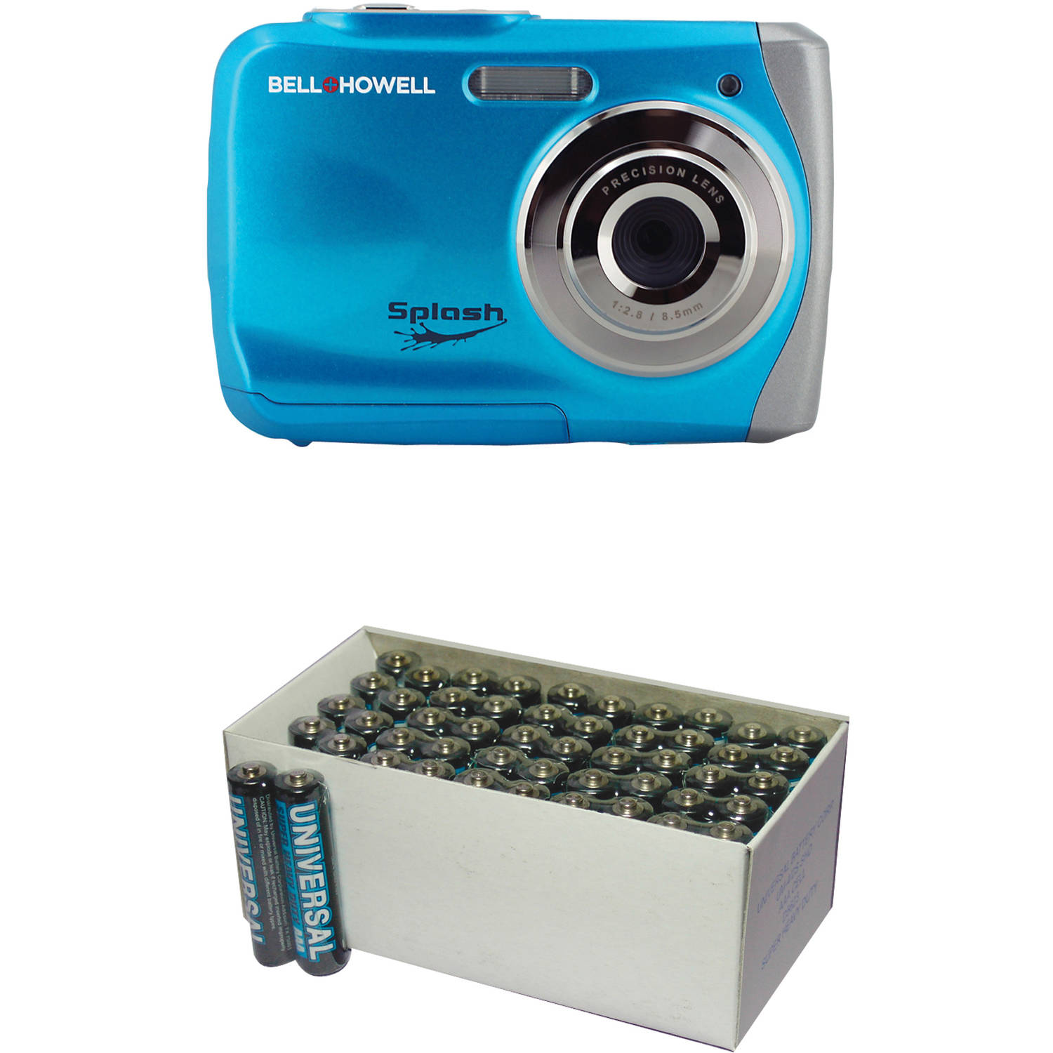 Bell+Howell Blue WP7 Waterproof Digital Camera with 12 Megapixels and UPG 50-Pack AAA Batteries