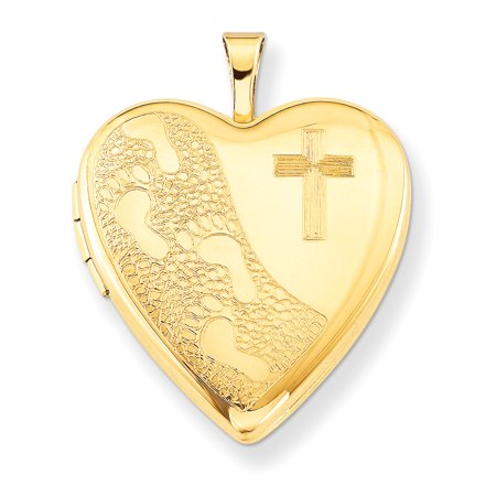 1/20 Gold Filled 20mm Cross Religious Footprint Heart Photo Pendant Charm Locket Chain Necklace That Holds Pictures W/chain For Women Gift (Footprints Cross)