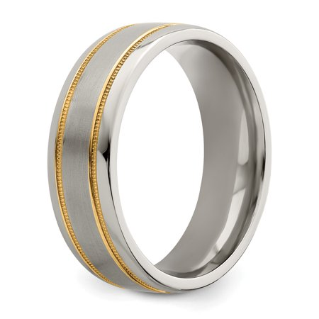 Edward Mirell Titanium &14k Satin & Polished Millgrain 7mm Band Ring Wedding Man Classic Milgrain Precious Metal Fine Jewelry For Dad Mens Gifts For Him - image 5 de 10