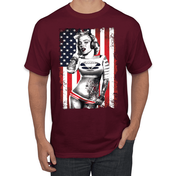 Merilyn Monroe USA Flag Men/'s V-neck T shirt  4th of July Gift