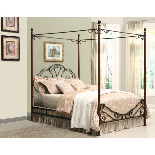 Metal Canopy Bed Frame Adison Metal Queen Canopy Bed  Walmart