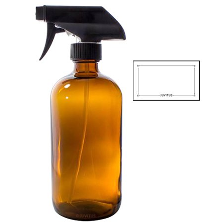 8 oz Amber Boston Round Thick Glass Spray Bottle + Label - Perfect for Home, Cleaning, Cooking, Essential Oils, DIY, Gifts