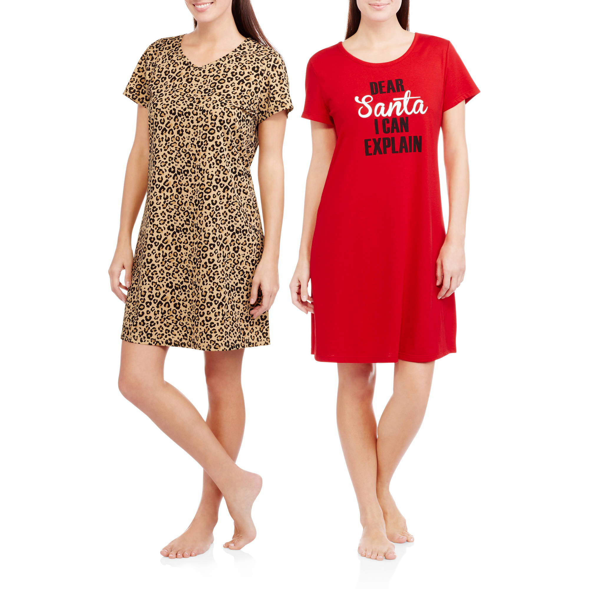 Secret Treasures Women's and Women's Plus Short Sleeve Sleep Shirt - 2 Pack