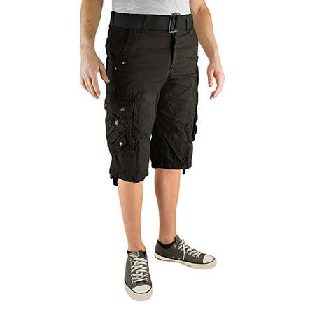 North 15 Mens Cotton Fashion Multi Pocket Belted Cargo (Mens Organic Cotton Short)