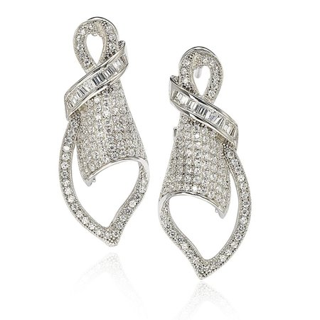Cubic Zirconia Sterling Silver Art Deco Pave Earrings