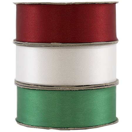 JAM Paper Satin Ribbon, 7/8 x 21 yards, Christmas Ribbon Trio, Sold individually