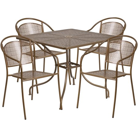 Flash Furniture 35.5'' Square Indoor-Outdoor Steel Patio Table Set with 4 Round Back Chairs, Multiple Colors ()