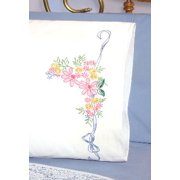 "Fairway Needlecraft Ribbon And Flowers Stamped Perle Edge Pillowcase Pair, 30"" x 20"""