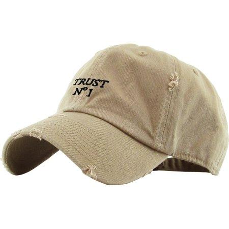 Trust No 1 Khaki Vintage Distressed Dad Hat Baseball Cap Polo Style -  Walmart.com 9031bd1cd761