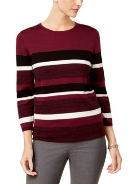 a6cd14b2 Product Image Alfred Dunner Womens Striped Long Sleeves Pullover Sweater  Purple L