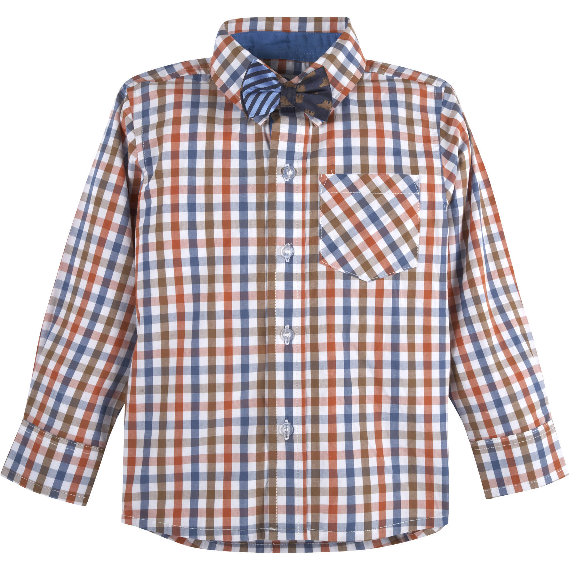 G-Cutee Baby Toddler Boy Woven Gingham Shirt w/ Bear & Stripes Bowtie Set