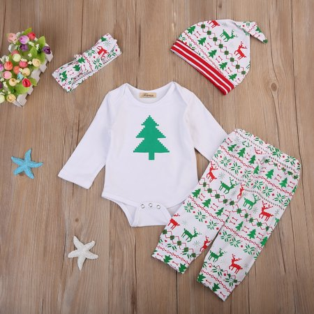 Cute 4pcs Infant Baby Boys Girls Christmas Romper Pants Hat Outfits Set - Cute Christmas Outfit