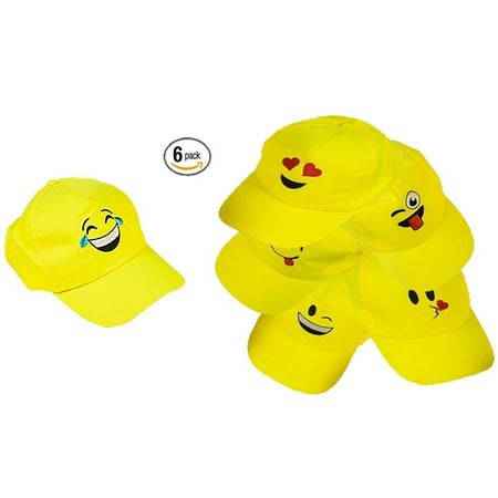 Play Kreative EMOJI Baseball Cap - 6 Yellow Emoticon Hats (The Man With The Yellow Hat)