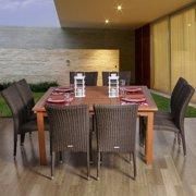 Amazonia Provence Square Eucalyptus and Wicker Dining Set - Seats 8