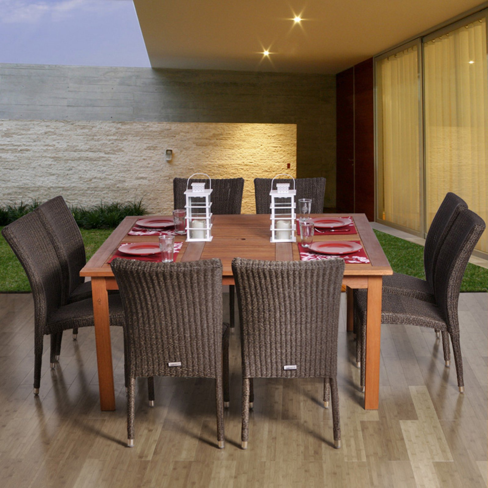 Amazonia Provence Square Eucalyptus and Wicker Dining Set - Seats 8