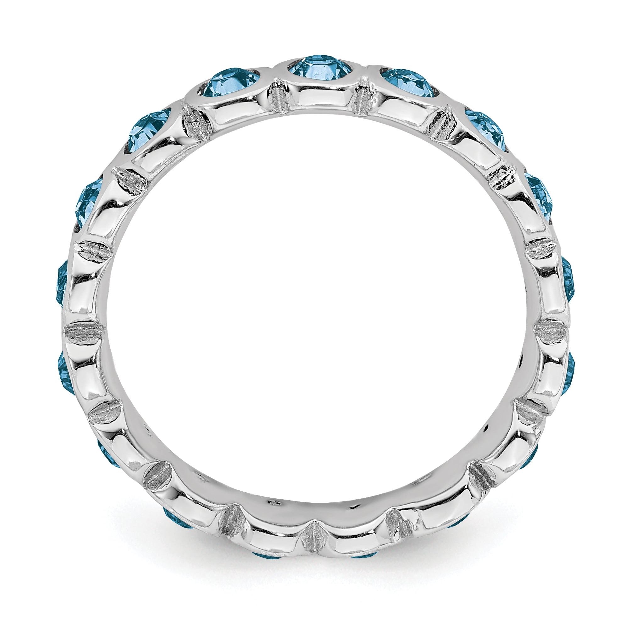 Sterling Silver Stackable Expressions December Swarovski Ring Size 7 - image 2 de 3