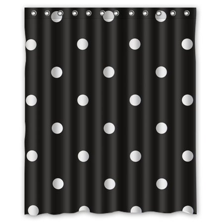 Hellodecor Polka Dot Shower Curtain Polyester Fabric Bathroom Decorative Size 60x72 Inches