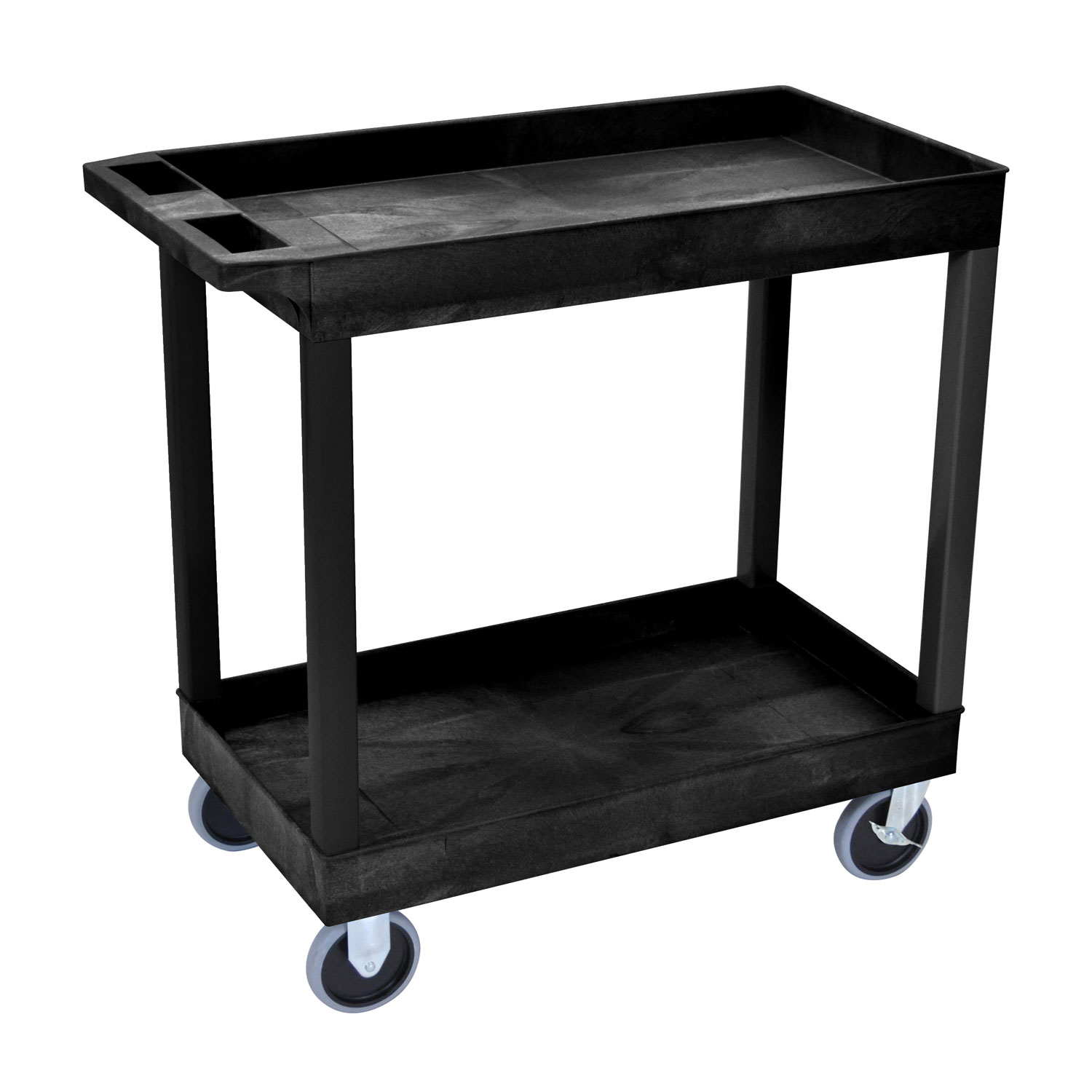 Offex 32 x 18 Two Shelves Tub Cart - Black
