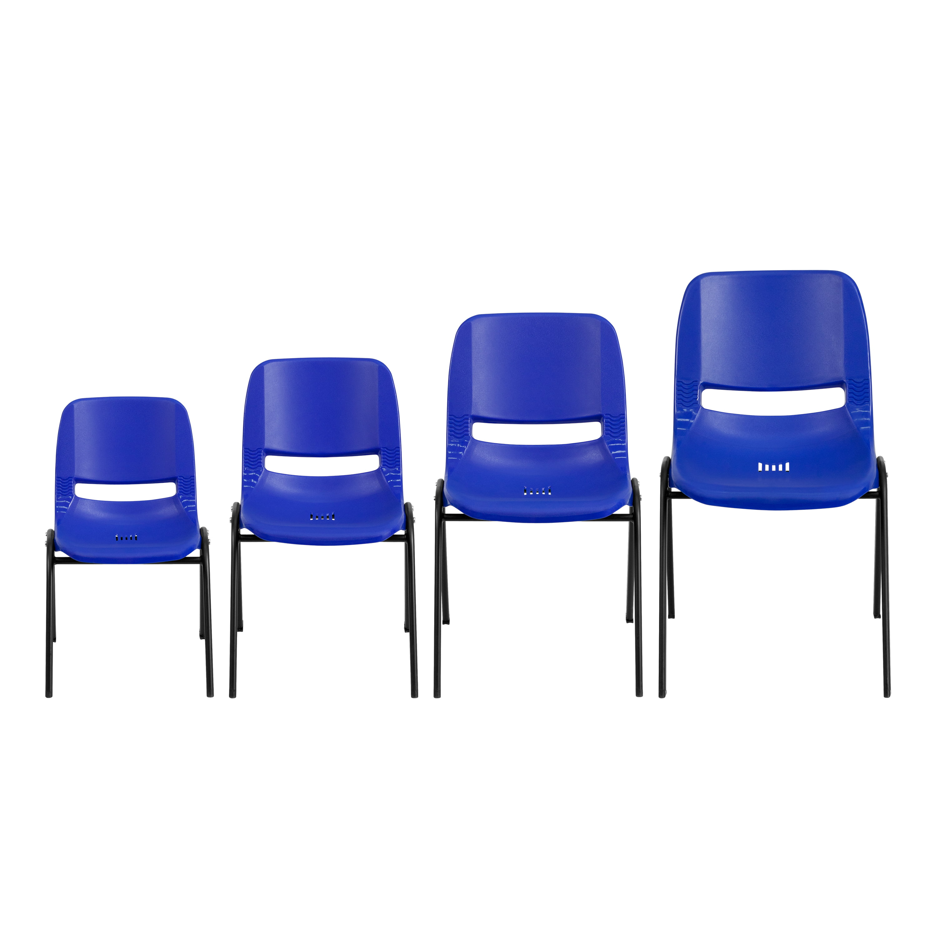 HERCULES Series 440 lb Capacity Kids Navy Ergonomic Shell Stack Chair with Chrome Frame and 14 Seat Height Flash Furniture 5 Pk