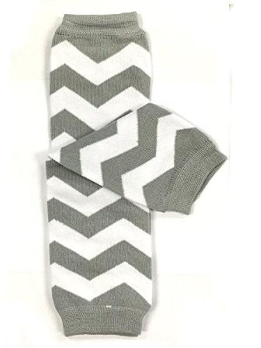 ALLYDREW Stripes, Polka Dots & Chevron Baby Leg Warmer & Toddler Leg Warmer for Boys & Girls, Gray & White Chevron