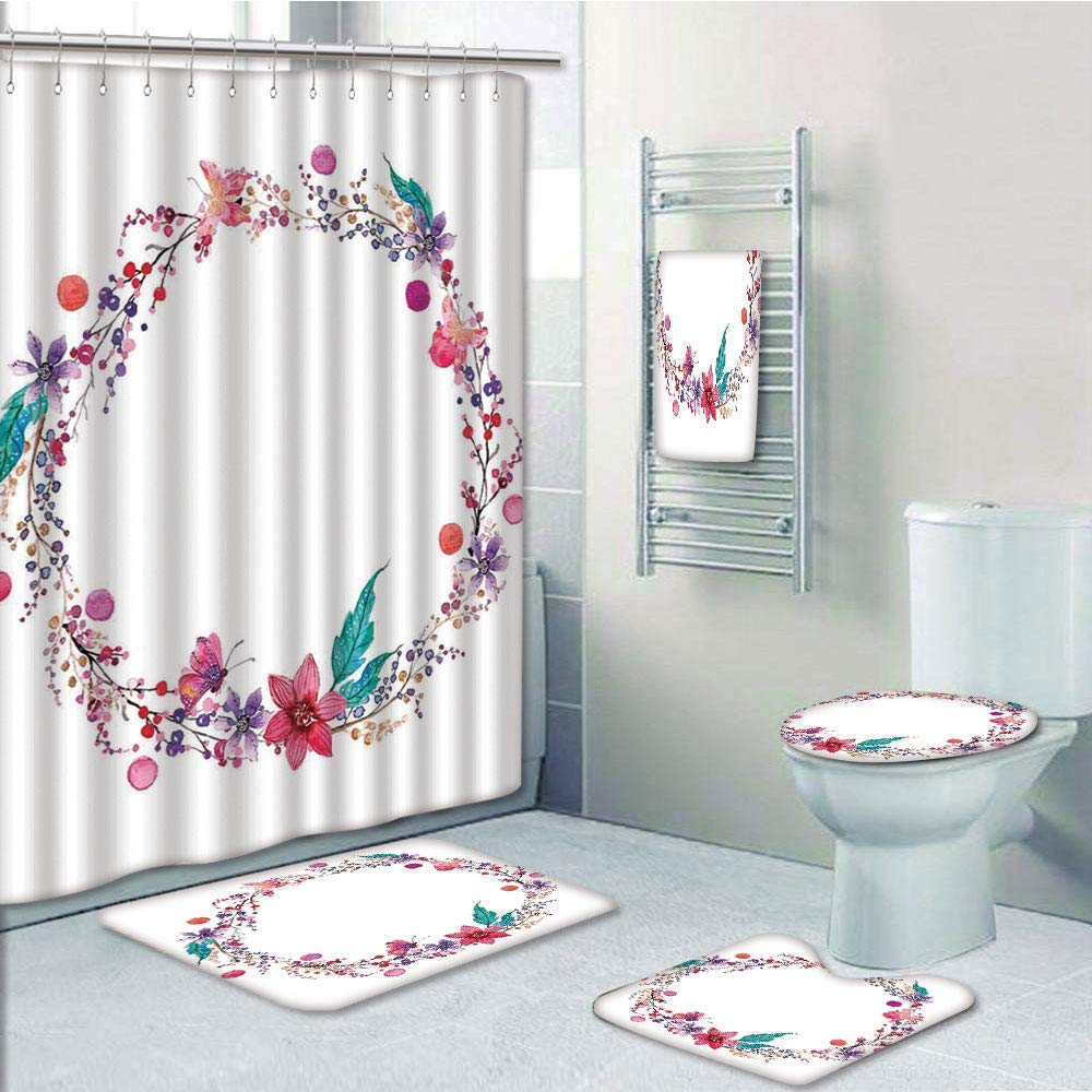 Pink Rose Butterfly Shower Curtain Bath Mat Toilet Cover Rug Bathroom Display