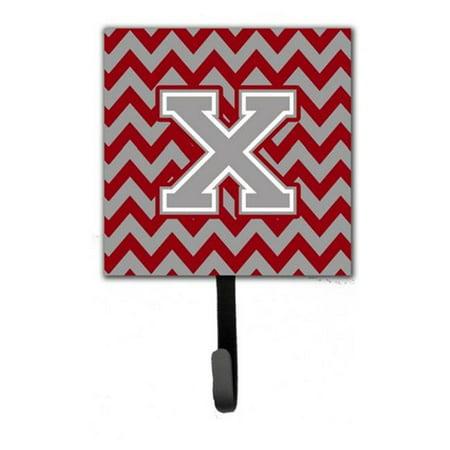 Letter X Chevron Crimson & Grey Leash or Key Holder - Gray Rosewood Letter Holder