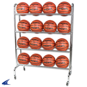 Champro BR12 Ball Rack with Casters, Upright (Silver, 41 x 17 41)