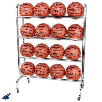 Ball Rack Holds - CHAMPRO Basketball Rack with Casters Powder Coated Finish Holds 16 Balls