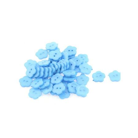 - 50pcs Plastic Plum Blossom Design Clothes Buttons Craft 15mm Dia Blue