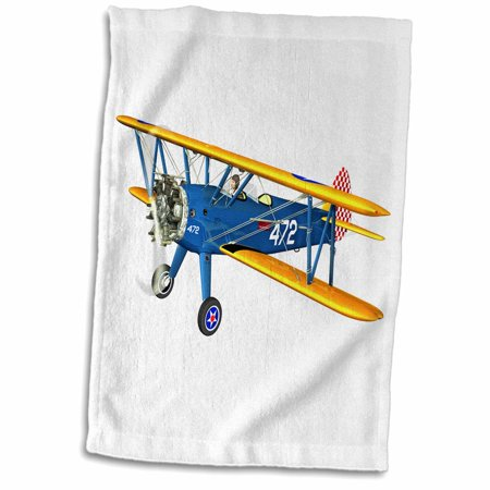 - 3dRose Blue and Yellow Military Training Biplane - Towel, 15 by 22-inch