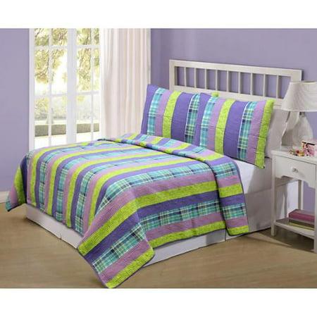 Cozy Line Panama Purple Striped Patchwork 100% Cotton Quilt Set, Twin Set