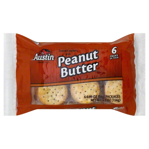 Austin Toasty Crackers with Peanut Butter, 0.93 Oz., 6 Count