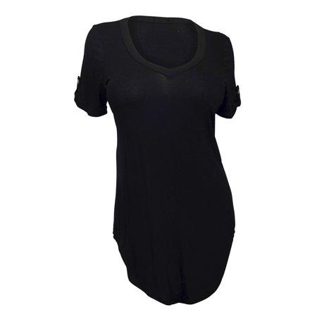 eVogues Plus Size Ballet Tunic Top Black