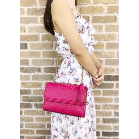 0c1f7a176252 Tory Burch Fleming Small Convertible Shoulder Bag Crossbody Bright Azalea  Pink - Walmart.com