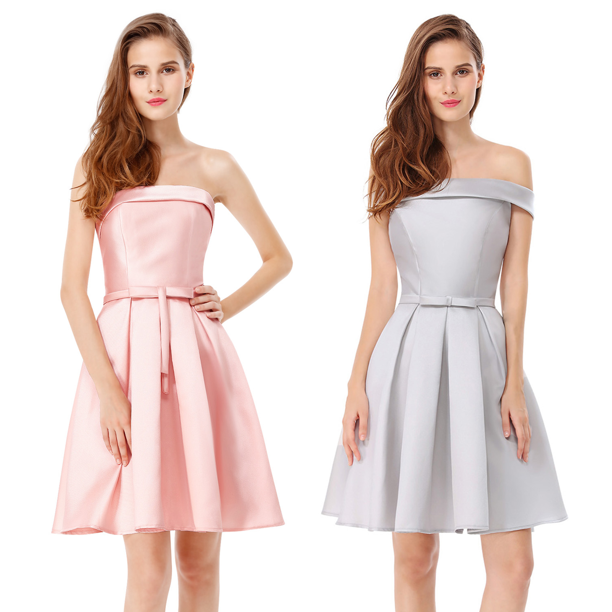 Ever-Pretty Pink Bridesmaid Dress Strapless Short Homecoming Party Dresses 05577